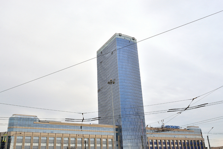 ST.PETERSBURG, RUSSIA - 15 JUNE 2016: Modern building business center Leader Tower. Black and white. 42-storey skyscraper in the south of St. Petersburg. Building height was 145.5 m
