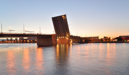 Volodarsky bridge at white night in St.Petersburg, Russia.