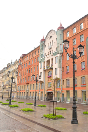 Malaya Konyushennaya Street- a street in the Central district of St. Petersburg. It passes from the Swedish lane to Nevsky Prospekt. Stock Photo