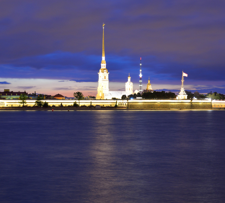 River Neva and Peter and Paul Fortress at night in St.Petersburg, Russia.