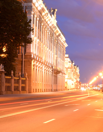 Marble Palace and embankment of Neva River in St. Petersburg, Russia. Editorial