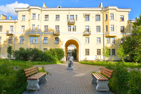 ST.PETERSBURG, RUSSIA - 16 JULY 2016: The building in the style of Stalin in Metallostroy, outskirts of St. Petersburg.