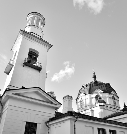 Church of St. Alexander Nevsky in Ust-Izhora town, St.Petersburg suburb, Russia. Black and white. Stock Photo