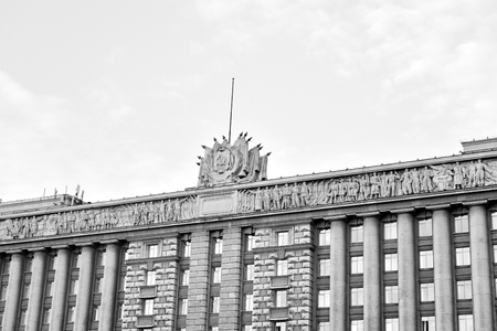 ST.PETERSBURG, RUSSIA - 26 JULY, 2016: House of Soviets- the Neoclassicism building was built in 1936-41. Located on Moscow Square in St. Petersburg. Black and white.
