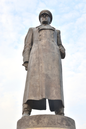 ST.PETERSBURG, RUSSIA - 26 JULY, 2016: Monument of Georgiy Konstantinovich Zhukov in Victory Park - Soviet military commander, Marshal of the Soviet Union, four times Hero of the Soviet Union. Editorial