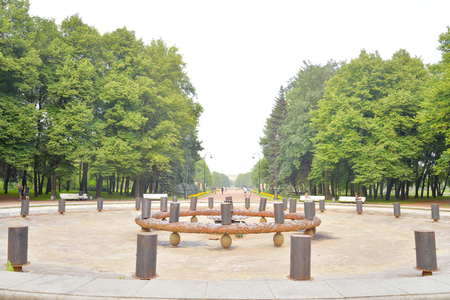 inoperative: ST.PETERSBURG, RUSSIA - 26 JULY, 2016: The old inoperative fountain in Victory Park in Saint Petersburg. Moscow Victory Park - a park in honor of the victory in the Great Patriotic War.