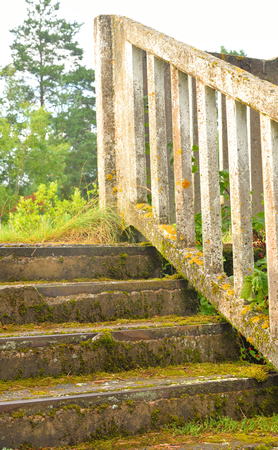 Old abandoned concrete staircase, overgrown with moss. Stock Photo