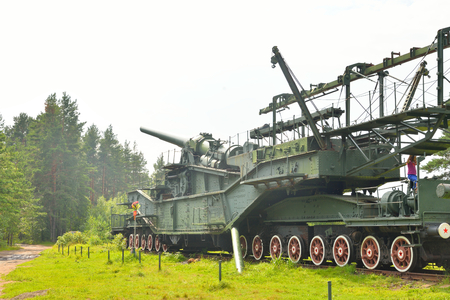 FORT KRASNAYA GORKA, RUSSIA - 31 JULY, 2016: 305-mm railway gun TM-3-12 in Krasnaya Gorka in Leningrad region.