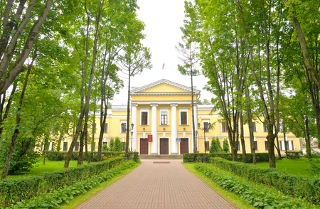 The palace in classical style and park in Gatchina, Russia.