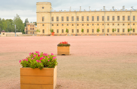Fragment of the Big Gatchina Palace in Gatchina, Russia.