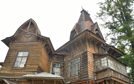 Old residential wooden building in Gatchina, Russia.