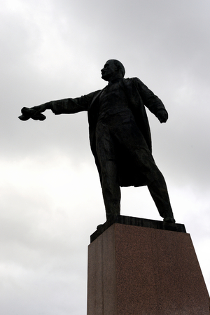 pseudonym: ST.PETERSBURG, RUSSIA - 6 AUGUST 2016: Silhouette of Monument to Lenin on Moscow Square. Vladimir Ilyich Ulyanov, the main pseudonym Lenin is a Russian revolutionary, a Soviet political and statesman.