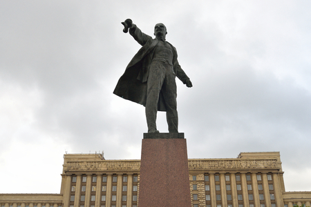 pseudonym: ST.PETERSBURG, RUSSIA - 6 AUGUST 2016: Monument to Lenin on Moscow Square. Vladimir Ilyich Ulyanov, the main pseudonym Lenin is a Russian revolutionary, a Soviet political and statesman.