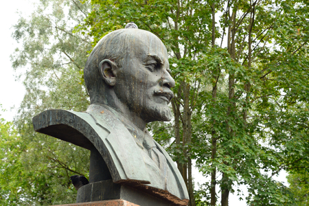 pseudonym: GATCHINA, RUSSIA - 6 AUGUST 2016: Monument to Lenin in Gatchina. Vladimir Ilyich Ulyanov, the main pseudonym Lenin is a Russian revolutionary, a Soviet political and statesman.