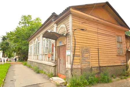 GATCHINA, RUSSIA - 6 AUGUST 2016: Old residential wooden building in Gatchina, Leningrad region.