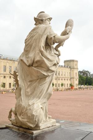 GATCHINA, RUSSIA - 6 AUGUST 2016: Statue Wisdom near Big Gatchina Palace in Gatchina, Russia.