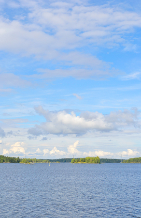 View of Saimaa lake at cloud day, Finland. Фото со стока