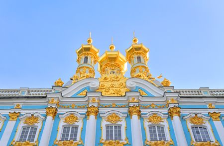 Golden cupolas of Catherine Palace church on the sky background, suburb of St.Petersburg, Russia. Editorial
