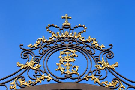 Details of golden gate in Tsarskoe Selo, Russia.