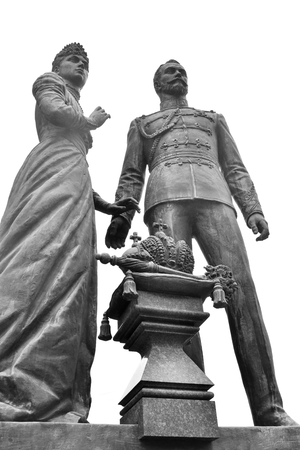 ST.PETERSBURG, RUSSIA - 1 SEPTEMBER 2016: Monument to Emperor Nicholas II and Empress Alexandra at the Warsaw station. Black and white. Editorial