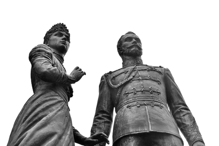 empress: ST.PETERSBURG, RUSSIA - 1 SEPTEMBER 2016: Monument to Emperor Nicholas II and Empress Alexandra at the Warsaw station. Black and white. Editorial