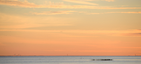 Colorful sunset over the Gulf of Finland of Baltic Sea. Stock Photo