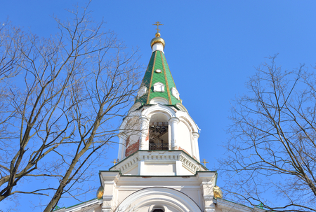 Bell tower in Orthodox Voskresensky Novodevichy Convent in St.Petersburg, Russia. Banco de Imagens
