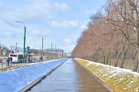 champ: ST.PETERSBURG, RUSSIA - 15 APRIL 2017: The Swan ditch is a canal in St. Petersburg that connects the Neva River and the Moika River between the Summer Garden and the Champ de Mars.