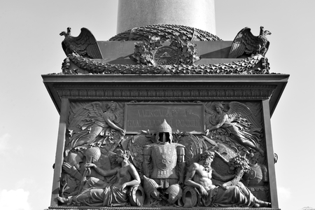 april 15: ST.PETERSBURG, RUSSIA - 15 APRIL 2017: Fragment of the Alexander Column is a monument in Empire style, located in the center of the Palace Square of St. Petersburg. Black and white. Editorial