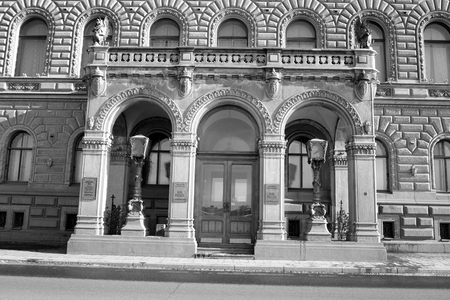 former: ST.PETERSBURG, RUSSIA - 15 APRIL 2017: House of Scientists in center of St.Petersburg, Russia. Black and white. The former Palace of Grand Duke Vladimir Alexandrovich.