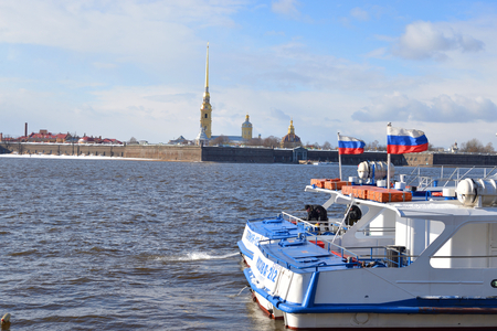 ST.PETERSBURG, RUSSIA - 15 APRIL 2017: River Neva and Peter and Paul Fortress in St.Petersburg at sunny spring day. Editorial