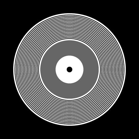 Vinyl record icon on black background. Vector illustration.