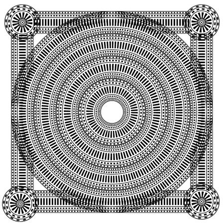 Round ornament pattern mandala on white background. Vector illustration.