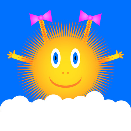 plait: Sun icon on blue sky background with cloud. Vector illustration.