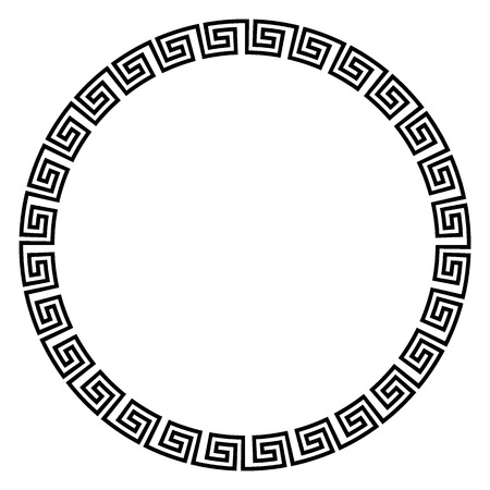 Round ornament meander on white background. Vector illustration. Иллюстрация