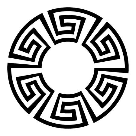 Round ornament meander Vector illustration. Иллюстрация