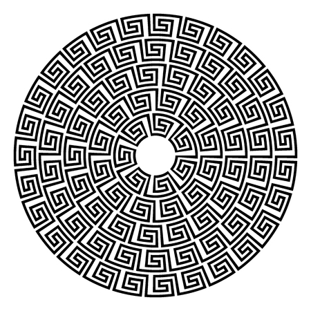 byzantine: Round ornament meander vector illustration.