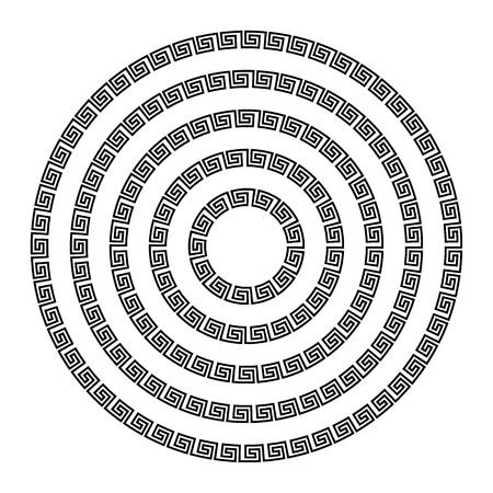 Round ornament meander vector illustration.
