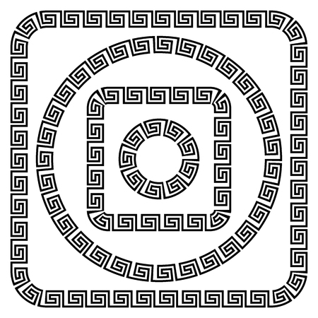 Round ornament meander Vector illustration. Фото со стока - 81437167