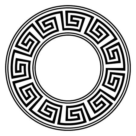 byzantine: Round ornament meander on white background. Vector illustration. Illustration