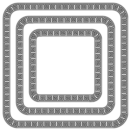 Square ornament meander on white background. Vector illustration.
