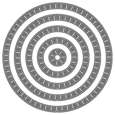Rond ornant le méandre sur fond blanc. Illustration vectorielle.