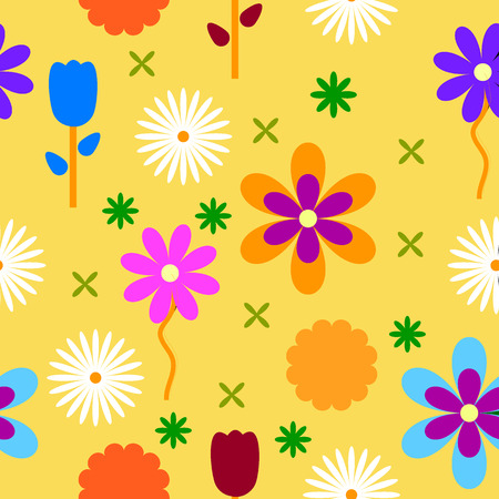 Colorful flowers background seamless pattern. Vector illustration.