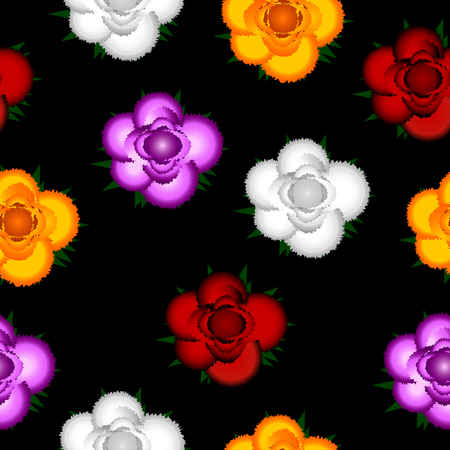 Colorful roses seamless pattern on black background. Vector illustration.