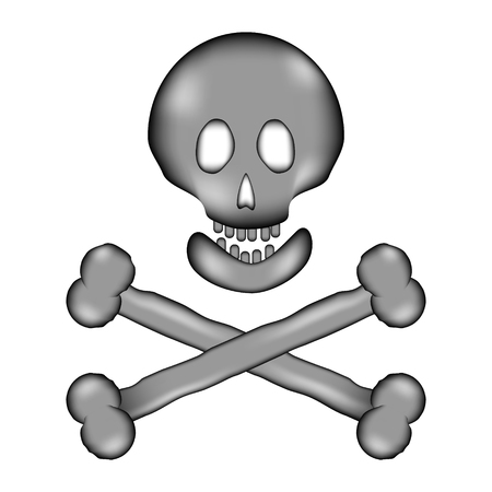 Skull and bones danger sign sign icon on white background. Vector illustration. Illustration