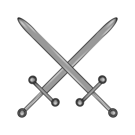 Crossed swords sign icon on white background. Vector illustration.