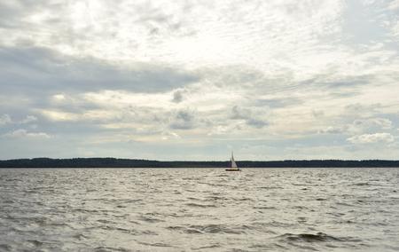 Lake at cloud day in Karelian Isthmus, Russia. Stock Photo