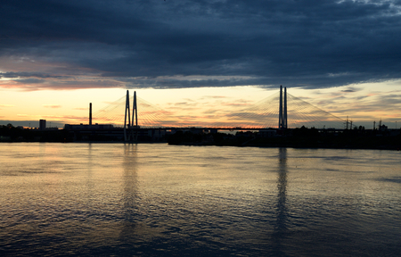 leningrad: Cable-stayed bridge at sunset in St.Petersburg, Russia.