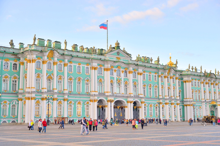 ST.PETERSBURG, RUSSIA - 5 SEPTEMBER 2017: View of Hermitage Museum. One of the largest and most significant art and historical museums in Russia.