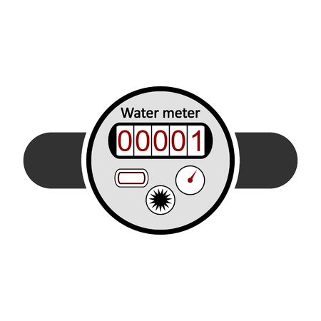 Water meter icon on white illustration.